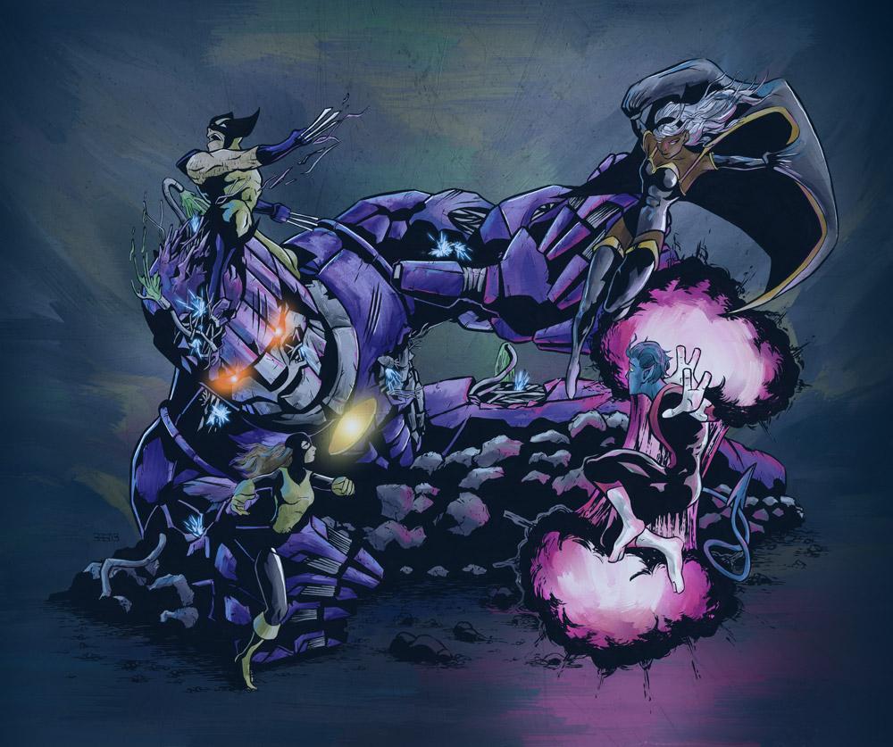 Days of Future Past X-Men Fighting Sentinel
